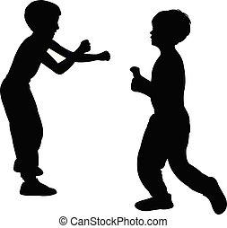 silhouette, kinderen, vecht