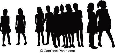 silhouette, kinderen, vector, samen