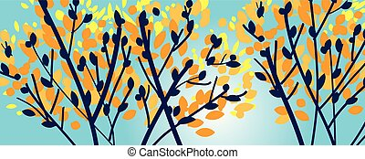 silhouette, moderne, boompje, herfst, elegant, takken
