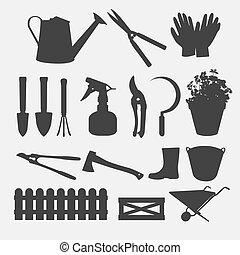 silhouette, tuinieren, vector, gereedschap
