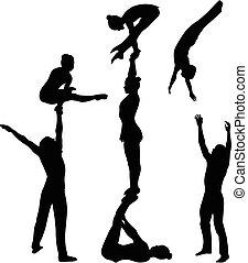 silhouette., vector, black , acrobats, gymnasts, stunt., acrobatisch