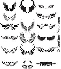 silhouette, vleugels, verzameling