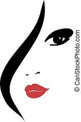silhouette, vrouw, mode