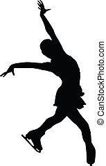 silhouette, vrouwtje cijfer, skater