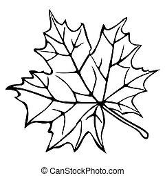 silhouette, witte , blad, esdoorn, achtergrond