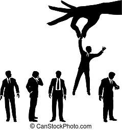 silhouette, zakenlui, hand, groep, selects, man