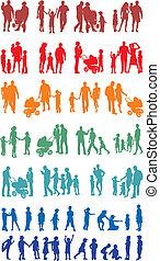 silhouetted, gezin, kleurrijke, (vectors)