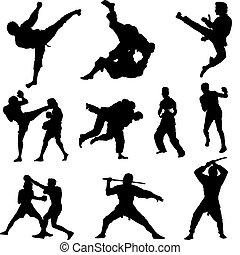 silhouettes, bestrijden sporten