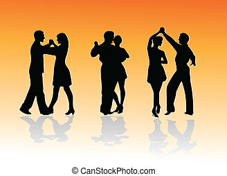 silhouettes, dans, stellen