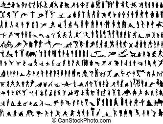 silhouettes, menselijk, honderden