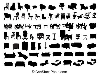 silhouettes, meubel, pictogram