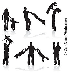 silhouettes, ouders, kinderen