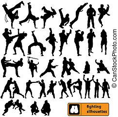 silhouettes, vecht, verzameling