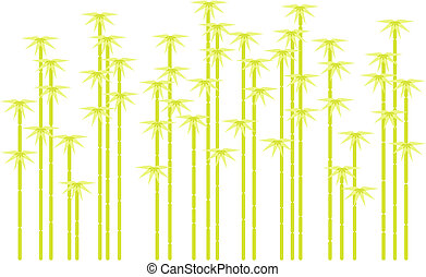 silhouettes, vector, boompje, bamboe