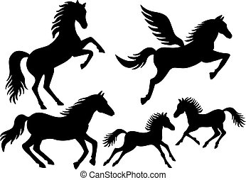 silhouettes, vector, paarde