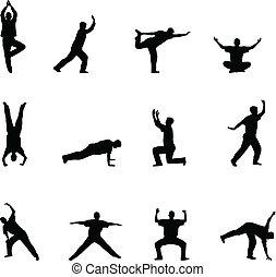 silhouettes, yoga, oefening