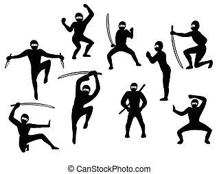 siluet, set, eps10, vector, samurai, action., black , illustratie, beelden, witte