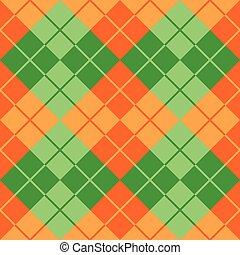 sinaasappel, argyle, groene