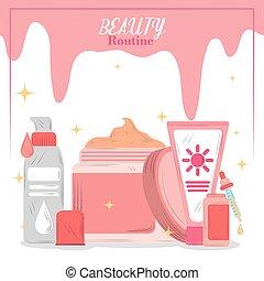 skincare, producten, spotprent, routine, beauty, kaart, schoonheidsmiddelen