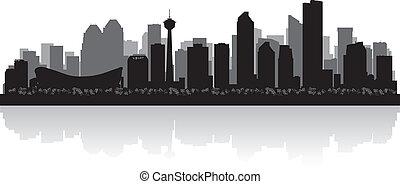 skyline, vector, stad, calgary, canada, silhouette