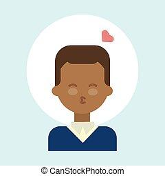 slag, emotie, man confronteren, amerikaan, profiel, kus, afrikaan, pictogram, verticaal, het glimlachen, mannelijke , spotprent, vrolijke