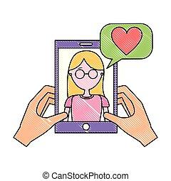 smartphone, liefde, klesten, vrouwenholding, handen