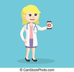 smartphone, vrouwlijk, vasthouden, arts