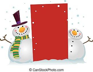sneeuwpop, leeg, twee, plank
