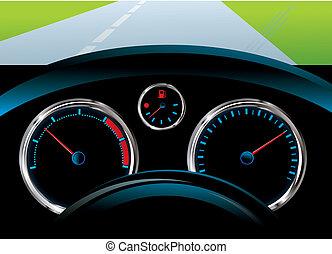 snelheidsmeter, niveau, tachometer, -, dashboard, auto, brandstof, sensor