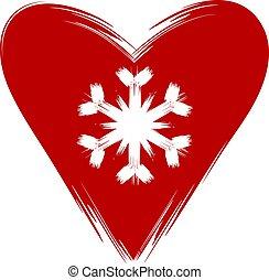 snowflake., vrijstaand, vector, rood hart, image., witte