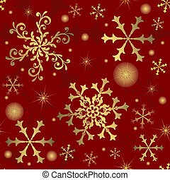 snowflakes, (vector), achtergrond, abstract, rood, seamless