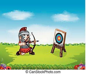 soldaat, romein, doel, boog