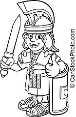 soldaat, romein, karakter, spotprent