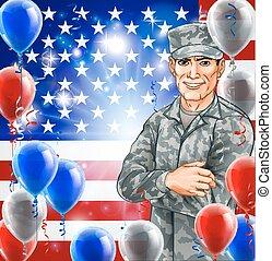 soldaat, usa, illustratie