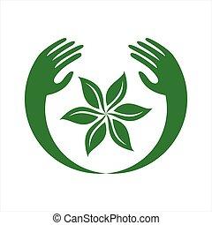 sparen, logo, loof twee, natuur, overhandiig samenvatting, pictogram