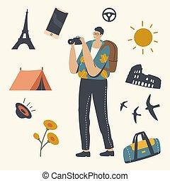 sparen, of, in het buitenland, kamperen, vervaardiging, auto, reizen, foto, toerist, reis, karakter, camera., mannelijke , het reizen, afbeelding, time.