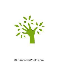 sparen, white., hand, natuur, leaves., vrijstaand, ecologie, silhouette, symbool, logo, groene, boom.