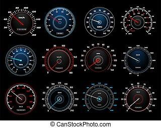 speedometers, indicatoren, snelheid, dashboard, vector