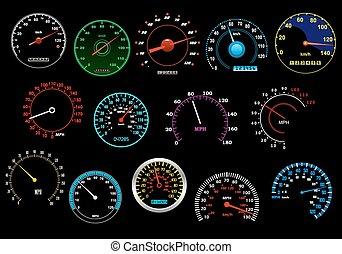 speedometers, set, gevarieerd