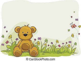 speelbal, beer, gebladerte, achtergrond