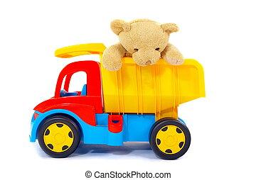 speelbal, beer, vrachtwagen