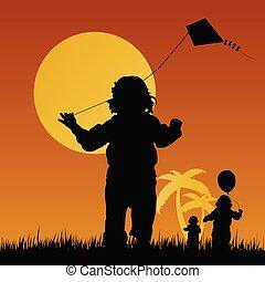 spelende kinderen, illustratie, natuur