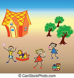 spelende kinderen, natuur