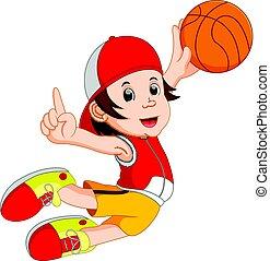 speler, spotprent, basketbal