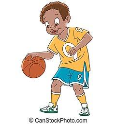 speler, spotprent, jongen, basketbal