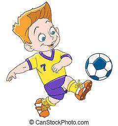 speler, spotprent, jongen, voetbal