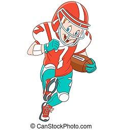 speler, spotprent, rugby, jongen
