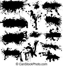 splatter, vector, grunge, verzameling, inkt