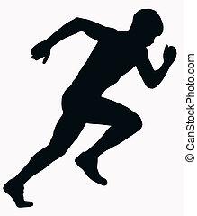 sportende, atleet, mannelijke , -, sprint, silhouette