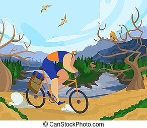 sportende, ontspanning, meer, fiets, karakter, activiteiten, rijden, bos, illustration., nationale, spotprent, mannelijke , vector, buiten, park, plek